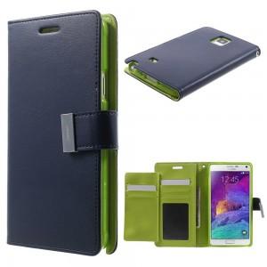 Samsung Galaxy Note 4 - etui na telefon i dokumenty - Rich Diary niebieskie