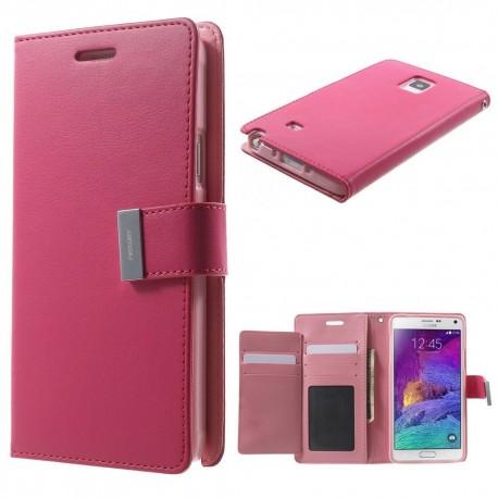 Samsung Galaxy Note 4 - etui na telefon i dokumenty - Rich Diary ciemnoróżowe