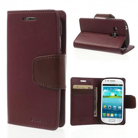 Samsung Galaxy S3 Mini - etui na telefon i dokumenty - Sonata czerwone wino