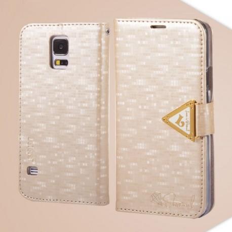 Samsung Galaxy S5 - etui na telefon i dokumenty - Leiers Eternal szampan