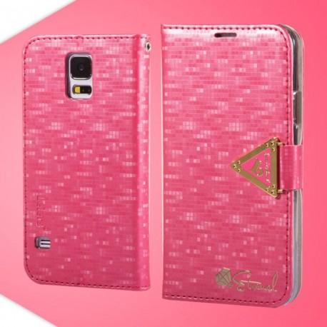 Samsung Galaxy S5 - etui na telefon i dokumenty - Leiers Eternal ciemnoróżowe V