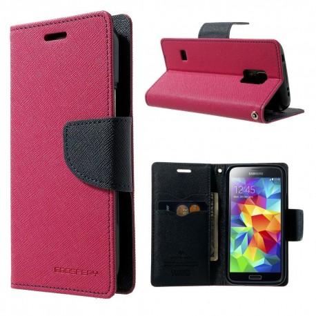 Samsung Galaxy S5 Mini - etui na telefon i dokumenty - Fancy ciemnoróżowe