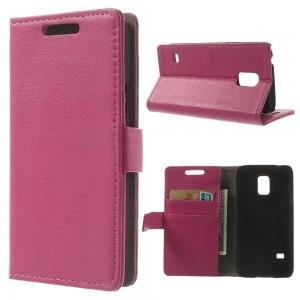 Samsung Galaxy S5 Mini - etui na telefon i dokumenty - Lychee różowe