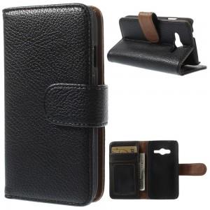 Samsung Galaxy Trend 2 - etui na telefon i dokumenty - Litchi czarne