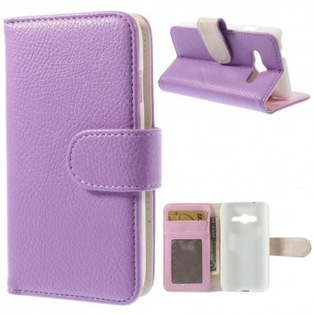 Samsung Galaxy Trend 2 - etui na telefon i dokumenty - Litchi purpurowe