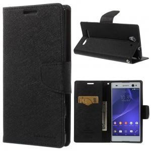 Sony Xperia C3 - etui na telefon i dokumenty - Fancy czarne