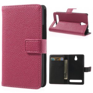 Sony Xperia E1 - etui na telefon i dokumenty - Lychee różowe