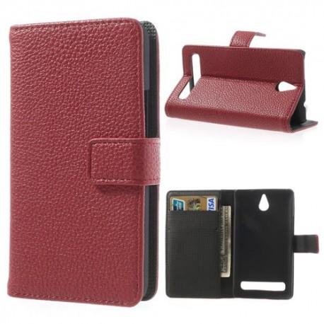 Sony Xperia E1 - etui na telefon i dokumenty - Lychee czerwone