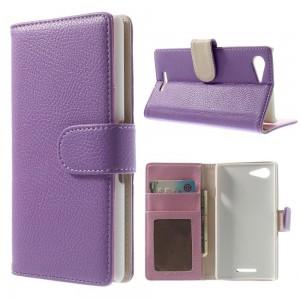 Sony Xperia E3 - etui na telefon i dokumenty - Litchi purpurowe