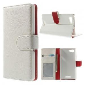 Sony Xperia E3 - etui na telefon i dokumenty - Litchi białe