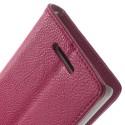 Sony Xperia E3 Portfel Etui – Ciemny Różowy Litchi