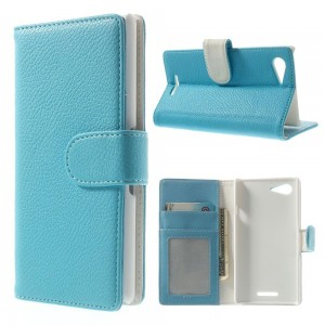 Sony Xperia E3 - etui na telefon i dokumenty - Litchi niebieskie