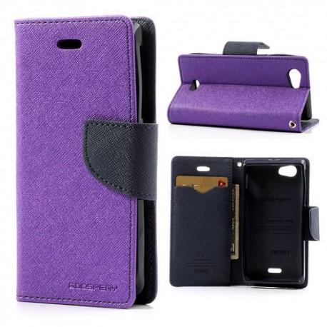 Sony Xperia J - etui na telefon i dokumenty - Fancy purpurowe