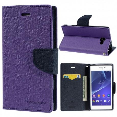 Sony Xperia M2 - etui na telefon i dokumenty - Fancy purpurowe
