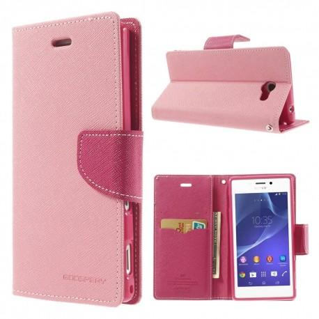 Sony Xperia M2 - etui na telefon i dokumenty - Fancy różowe