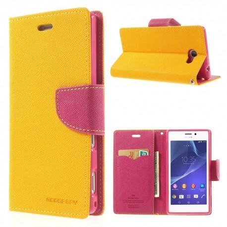 Sony Xperia M2 - etui na telefon i dokumenty - Fancy żółte