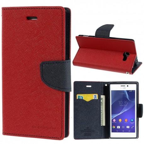 Sony Xperia M2 - etui na telefon i dokumenty - Fancy czerwone