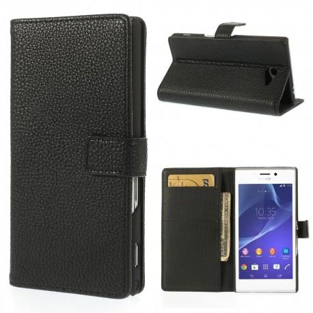 Sony Xperia M2 - etui na telefon i dokumenty - Litchi czarne