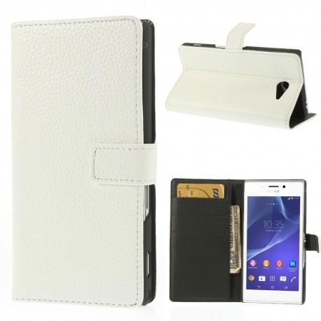 Sony Xperia M2 - etui na telefon i dokumenty - Litchi białe
