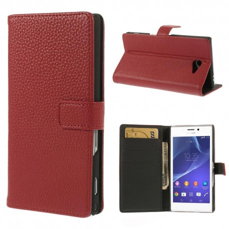 Sony Xperia M2 - etui na telefon i dokumenty - Litchi czerwone