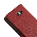 Sony Xperia M2 Portfel Etui – Litchi Czerwony