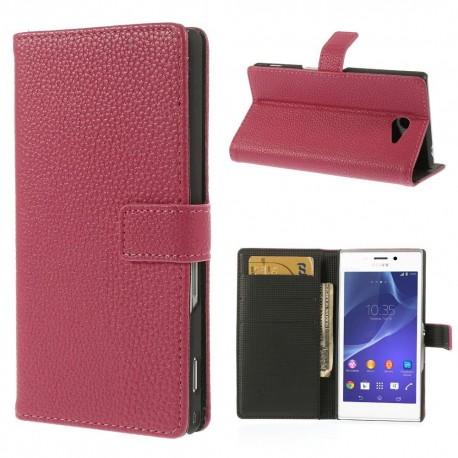 Sony Xperia M2 - etui na telefon i dokumenty - Litchi różowe
