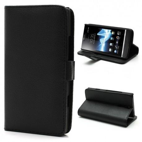 Sony Xperia S - etui na telefon i dokumenty - Litchi czarne