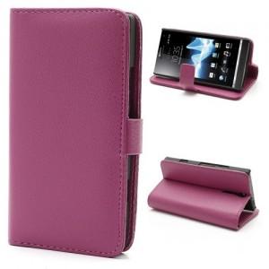 Sony Xperia S - etui na telefon i dokumenty - Litchi różowe
