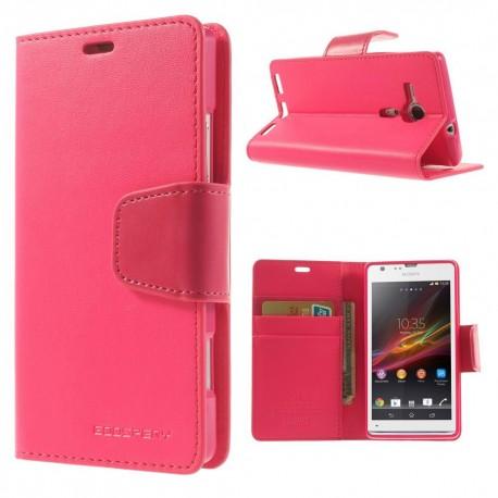 Sony Xperia SP - etui na telefon i dokumenty - Sonata ciemnoróżowe