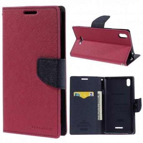 Sony Xperia T3 - etui na telefon i dokumenty - Fancy ciemnoróżowe