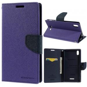 Sony Xperia T3 - etui na telefon i dokumenty - Fancy purpurowe