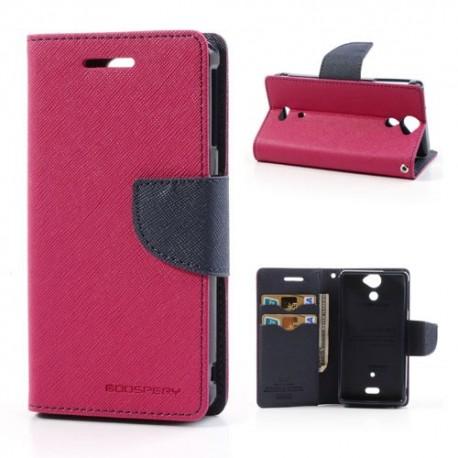 Sony Xperia V - etui na telefon i dokumenty - Fancy ciemnoróżowe