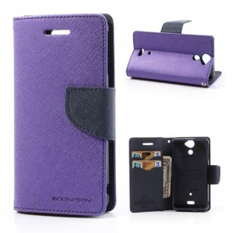 Sony Xperia V - etui na telefon i dokumenty - Fancy purpurowe