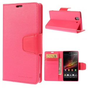 Sony Xperia Z - etui na telefon i dokumenty - Sonata ciemnoróżowe