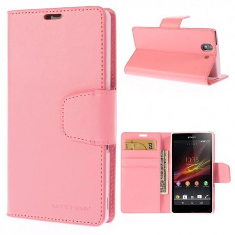 Sony Xperia Z - etui na telefon i dokumenty - Sonata różowe