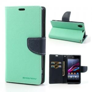 Sony Xperia Z1 - etui na telefon i dokumenty - Fancy cyjan