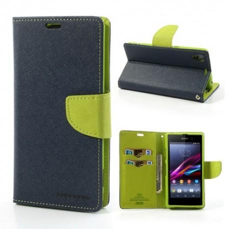 Sony Xperia Z1 - etui na telefon i dokumenty - Fancy niebieskie