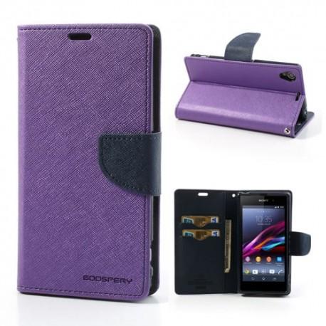 Sony Xperia Z1 - etui na telefon i dokumenty - Fancy purpurowe