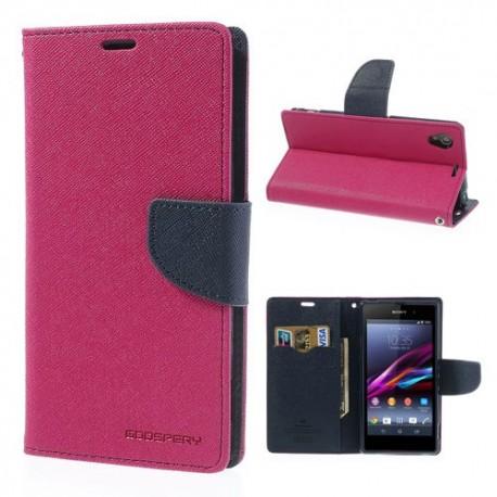 Sony Xperia Z1 - etui na telefon i dokumenty - Fancy ciemnoróżowe