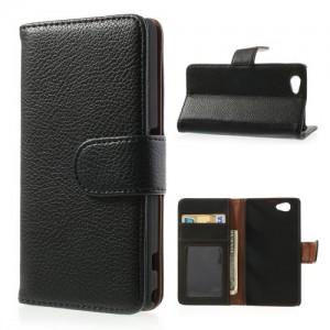 Sony Xperia Z1 Compact - etui na telefon i dokumenty - Litchi czarne