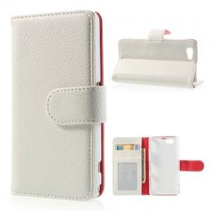 Sony Xperia Z1 Compact - etui na telefon i dokumenty - Litchi białe