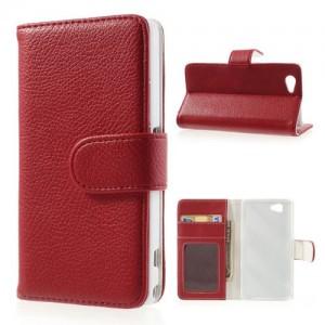 Sony Xperia Z1 Compact - etui na telefon i dokumenty - Litchi czerwone