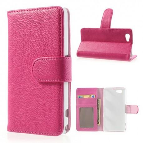 Sony Xperia Z1 Compact - etui na telefon i dokumenty - Litchi różowe