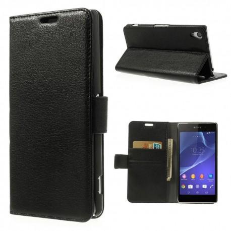 Sony Xperia Z2 - etui na telefon i dokumenty - Litchi czarne