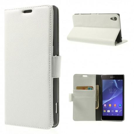 Sony Xperia Z2 - etui na telefon i dokumenty - Litchi białe