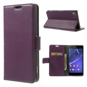 Sony Xperia Z2 - etui na telefon i dokumenty - Litchi purpurowe
