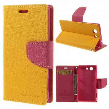 Sony Xperia Z3 Compact - etui na telefon i dokumenty - Fancy żółty V
