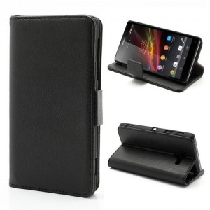 Sony Xperia ZL - etui na telefon i dokumenty - Litchi czarne