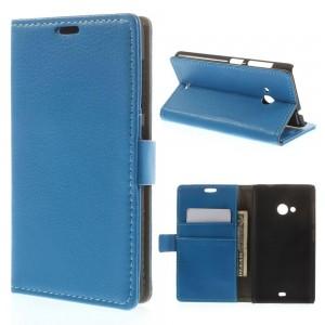Microsoft Lumia 535 - etui na telefon i dokumenty - Litchi niebieskie