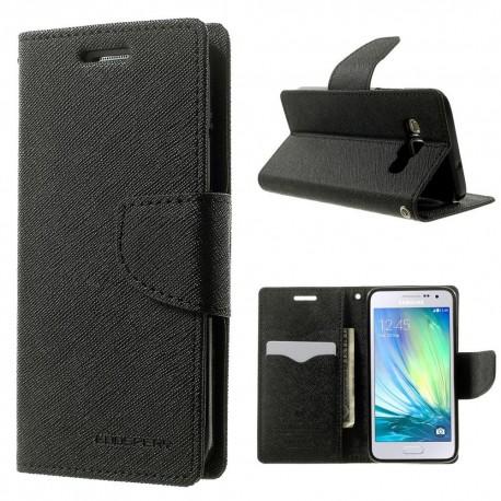 Samsung Galaxy A3 - etui na telefon i dokumenty - Fancy czarne (KR)